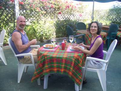 Danny and Denise Enjoying a Jamaican Meal
