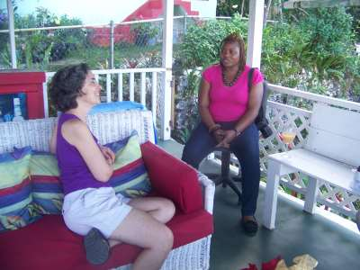 Sheena Gayle from The Gleaner interviewing Denise