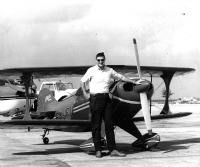 Rudy Mantel, beside his little Pitts Special Aerobatic in about 1970