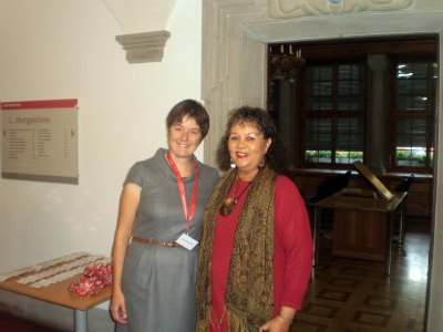 UNESCO Sustainable Tourism Conference Co-ordinator Jeanne Berthoud with Diana McIntyre-Pike