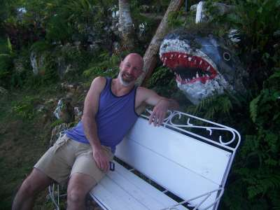 Danny Rtchardson in Garden with Shark