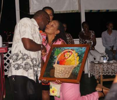 Aceion Cunningham winner of a piece of art created from egg shells