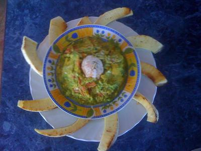 Spicy Avocado Dip served with Slices of Roasted Breadfruit
