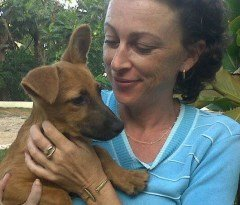 Tammy Browne with Apple Bee at Montego Bay Animal Sanctuary
