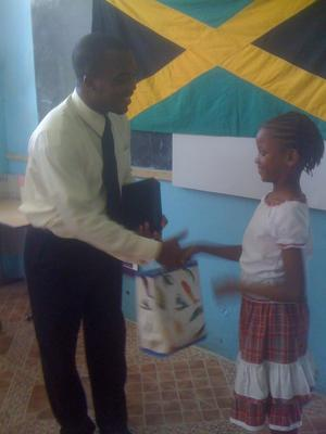 Giving a gift to the Pastor who was the guest speaker